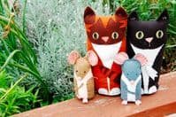 The Button Company - Cat and Mouse Craft Kit - Tabby